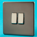 Varilight 2 Gang 2 Way 10A Rocker Light Switch Screwless Pewter/Slate Grey Dec Switch - XDR2S